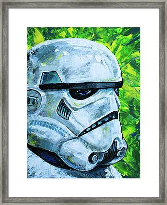 Framed Print featuring the painting Star Wars Helmet Series - Storm Trooper by Aaron Spong