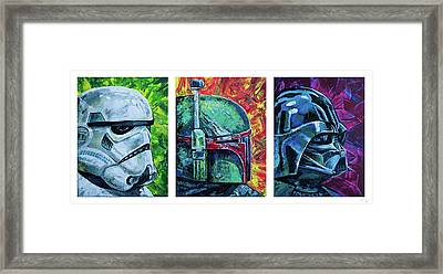 Framed Print featuring the painting Star Wars Helmet Series - Triptych by Aaron Spong