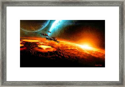 Star Wars In Space - Da Framed Print by Leonardo Digenio