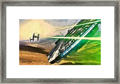 Star Wars Millennium Falcon Framed Print by Leonardo Digenio