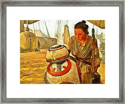 Star Wars Rey And Bb-8  - Van Gogh Style -  - Da Framed Print
