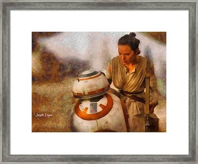 Star Wars Rey And Bb-8  - Wax Style -  - Da Framed Print