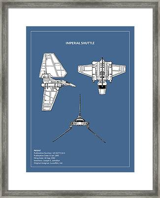 Star Wars - Shuttle Patent Framed Print by Mark Rogan