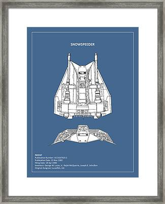 Star Wars - Snowspeeder Patent Framed Print by Mark Rogan