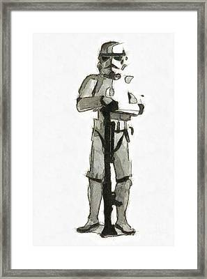 Star Wars Storm Trooper Pencil Drawing Framed Print