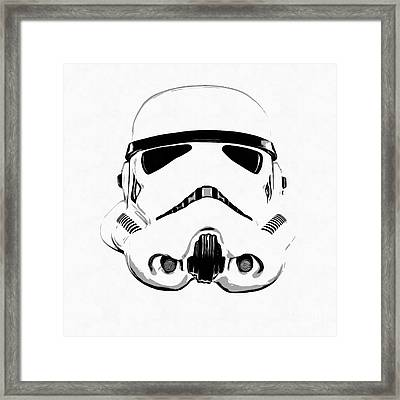 Star Wars Stormtrooper Helmet Graphic Drawing Framed Print by Edward Fielding