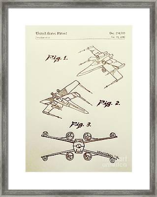 Star Wars X-wing 1980 Us Patent - Sepia Framed Print by Scott D Van Osdol