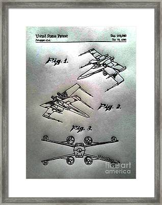 Star Wars X-wing 1980 Us Patent - Silver Abstract Framed Print