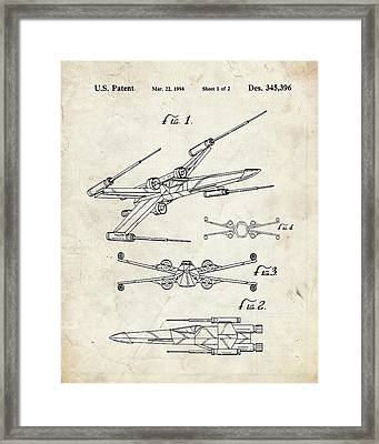 Star Wars X Wing Fighter Patent Framed Print by Igor Drondin