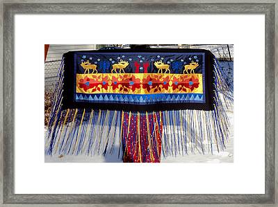 Framed Print featuring the tapestry - textile Star Whistling by Chholing Taha