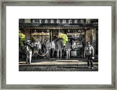 Framed Print featuring the photograph Starbucks At The Market by Spencer McDonald