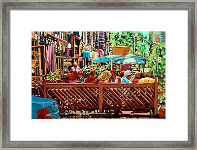 Starbucks Cafe On Monkland Montreal Cityscene Framed Print by Carole Spandau