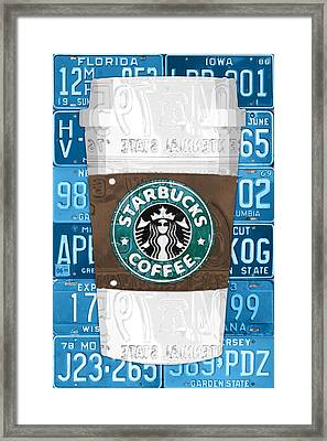 Starbucks Coffee Cup Recycled Vintage License Plate Pop Art Framed Print by Design Turnpike