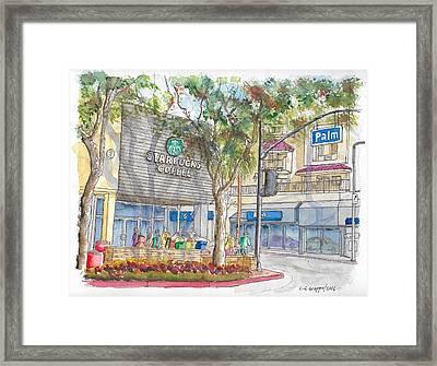 Starbucks Coffee In San Fernando Rd And Palms, Burbank, California Framed Print