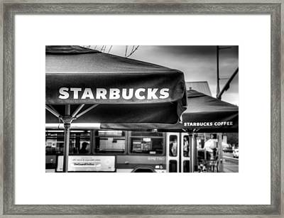 Starbucks Umbrella Framed Print by Spencer McDonald