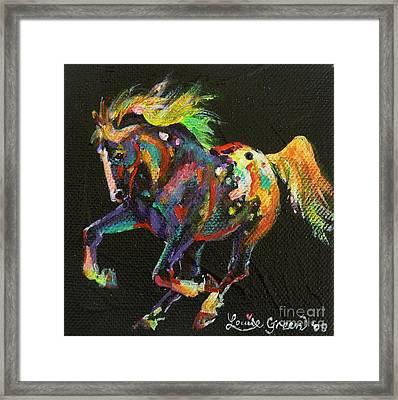 Starburst Pony Framed Print by Louise Green