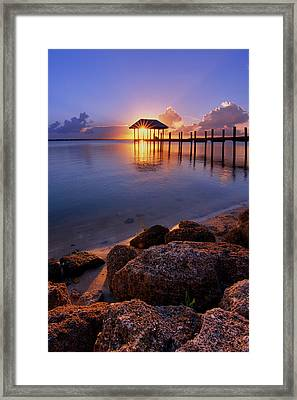 Starburst Sunset Over House Of Refuge Pier In Hutchinson Island At Jensen Beach, Fla Framed Print