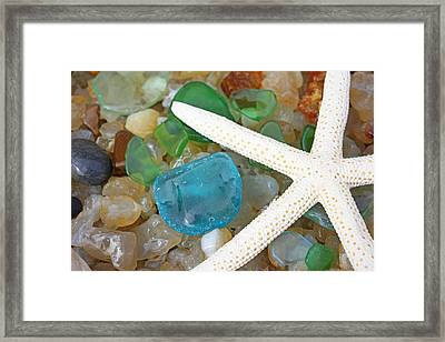Starfish Art Prints Blue Green Seaglass Sea Glass Agates Framed Print