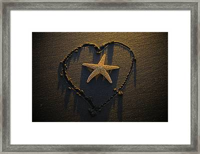 Starfish Inside Heart Framed Print by Garry Gay