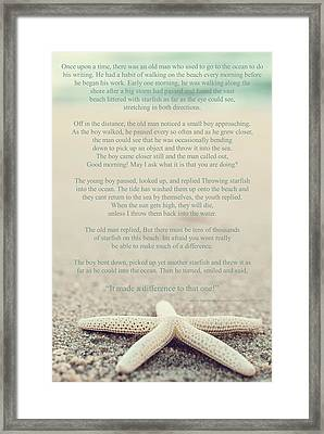 Starfish Make A Difference Vintage Set 1 Framed Print by Terry DeLuco
