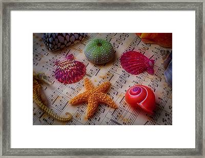 Starfish On Sheet Music Framed Print by Garry Gay