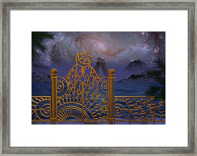 Stargate-temple-galaxy Framed Print by Terry Anderson
