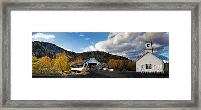 Stark Covered Bridge And Church Framed Print
