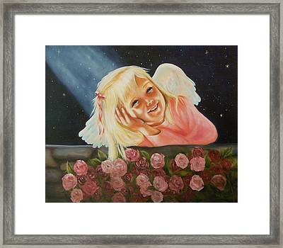 Framed Print featuring the painting Starlight Angel by Joni McPherson