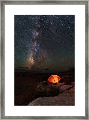 Starlight Camping On The Canyon Edge Framed Print