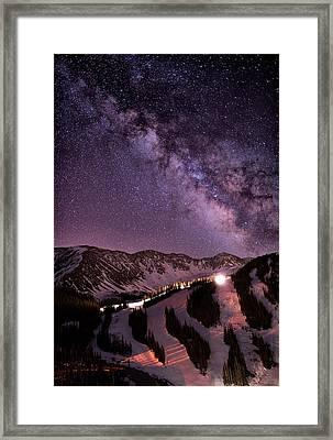 Starlight Mountain Ski Hill Framed Print by Mike Berenson