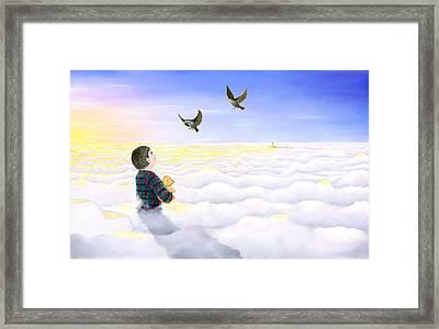 Starlings Coming Framed Print by Barbara Gaskell