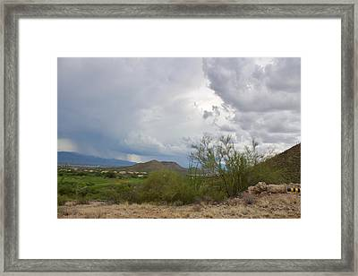 Starr Pass Monsoon Clouds Framed Print
