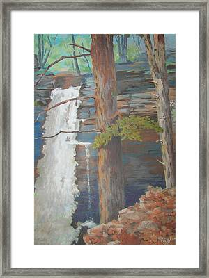 Framed Print featuring the painting Starrucca Pa. Falls by Tony Caviston