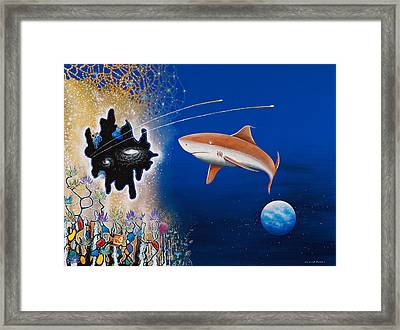 Starry Eyed Shark Framed Print by Lee Pantas