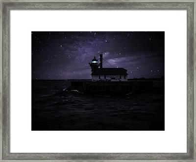 Starry Lighthouse Framed Print by Dawn Van Doorn