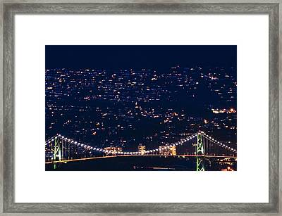 Framed Print featuring the photograph Starry Lions Gate Bridge - Mdxxxii By Amyn Nasser by Amyn Nasser