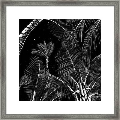 Starry Moonlit Palms Framed Print
