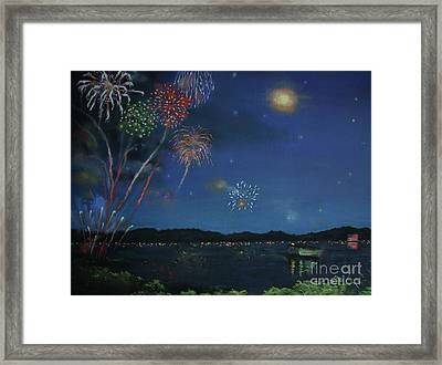 Starry Night At Crooked Creek Marina Framed Print