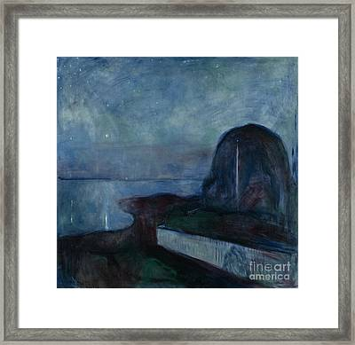 Starry Night By Edvard Munch Framed Print by Esoterica Art Agency