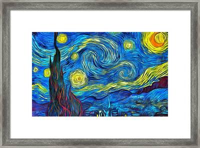 Starry Night By Vincent Van Gogh Revisited - Da Framed Print by Leonardo Digenio