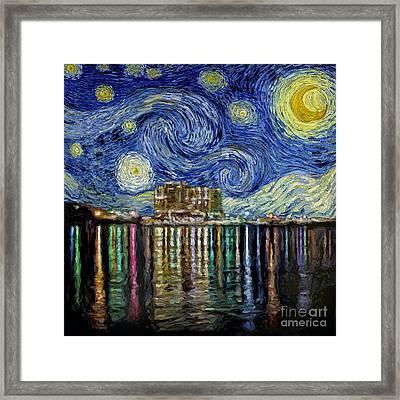 Starry Night In Destin Framed Print by Walt Foegelle