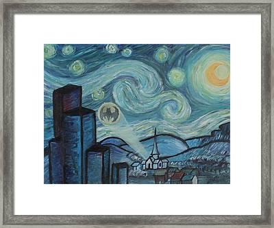 Starry Night In Gotham Framed Print by Nik English