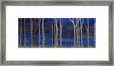 Starry Night In The Zebra Forrest Framed Print