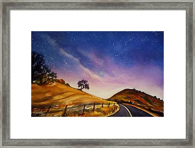 Starry Night On Yokohl Road Framed Print by Therese Fowler-Bailey