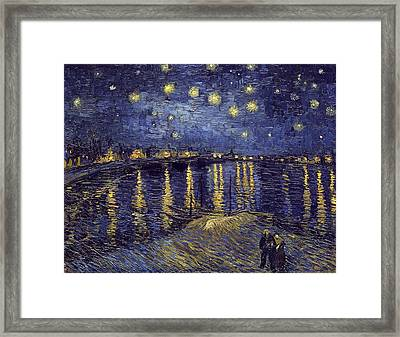 Framed Print featuring the painting Starry Night Over The Rhone by Van Gogh