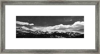Starry Night Rocky Mountain Black And White Panorama Framed Print
