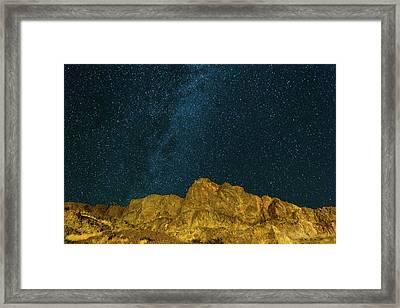 Starry Night Sky Over Rocky Landscape Framed Print