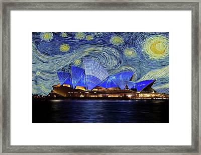 Starry Night Sydney Opera House Framed Print by Movie Poster Prints