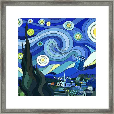 Starry Night Tardis Framed Print by Devika Indriani