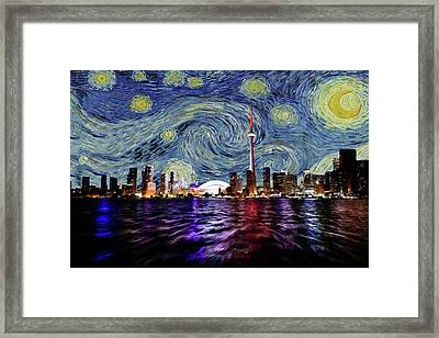 Framed Print featuring the painting Starry Night Toronto Canada by Movie Poster Prints